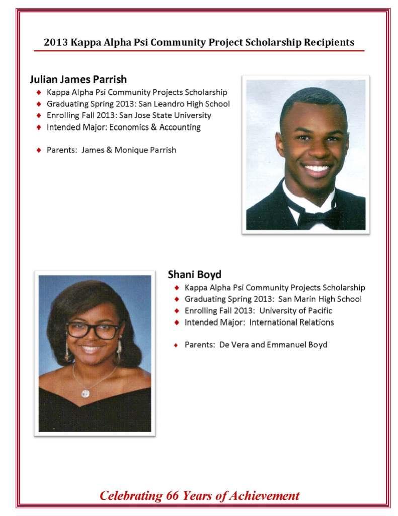 2013 scholarship awardees